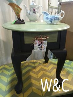 Mossy Meadow & Espresso Plaster Paint side table. www.wonderlandandcompany.com