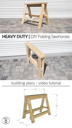 HEAVY DUTY DIY Folding Sawhorses How to make strong, heavy duty wood folding DIY sawhorses with these free plans and video tutorial. Cool Woodworking Projects, Diy Wood Projects, Diy Woodworking, Home Projects, Woodworking Equipment, Woodworking Machinery, Diy Wood Crafts, Diy Projects Plans, Wooden Pallet Projects