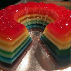 Rainbow Jello Shot Cake