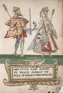 """Elizabeth de Burgh, Queen of Scotland"": http://thefreelancehistorywriter.com/2013/04/27/elizabeth-de-burgh-queen-of-scotland/  IMAGE: Elizabeth de Burgh and Robert the Bruce from the Seton Armorial"