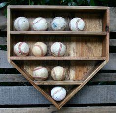 Baseball Wall Organizer - Home plate baseball shelf by rosa