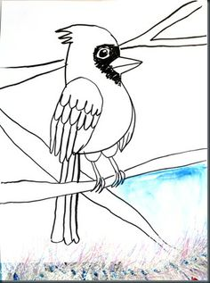 Line drawing: Cardinal in winter