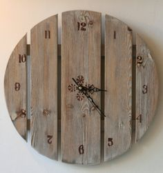 Image detail for -Large wall clock Hand Painted Wooden Clock by ArtWoodFactory