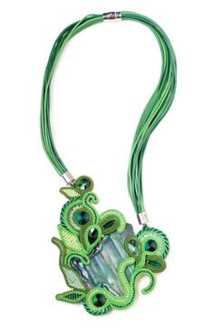 statement necklace handmade hippie bohemian jewelry festival soutache jewelry beaded necklace Green Festival gift women Agate by SixVintageChicks on Etsy