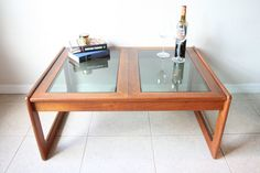Vintage Wood & Smoked Glass Coffee Table  by RetroTherapyRehab, $325.00