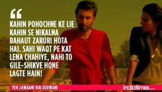 Bollywood quotes - 12 Times 'Yeh Jawaani Hai Deewani' Proved That It Understood Our Generation Perfectly! Motivational Quotes For Life, Song Quotes, Hindi Quotes, Movie Quotes, Quotes To Live By, Quotations, Best Quotes, Life Quotes, Inspirational Quotes