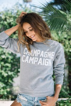 Private Party: Champagne Campaign sweatshirt in grey   Soleil Blue