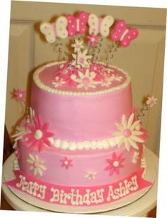 Pink Birthday Cake: I absolutely love making cakes. My daughter loves the color pink!!!! She was turning 6 when I made her this cake. Its really easy to make, the funnest