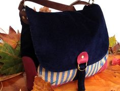 Pick and Mix Florence Satchel Bag - Blue velvet  Floral Stripe