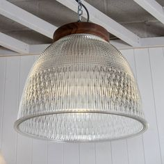 Ceiling light, pendant lamp, Reclaimed Holophane Glass Factory Lamp with Hand Turned Wooden Top 39 cm diameter Large Glass ceiling light,