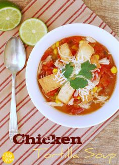 Ingredients:    6 (6-inch) flour tortillas, (preferably a dried out)  1/4 cup vegetable oil  2 cans(14.5 oz) chicken broth  2 cans (14.5 oz) Rotel (Mexican Lime and Cilantro)  1 can (16 oz) Bush's BEST Refried Beans  1 can (4 oz) diced Green Chilies  1 cup frozen corn  2 cups chicken, cooked and