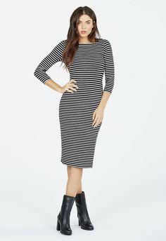 Boatneck Side Slit Dress Kleidung in Black Multi - günstig kaufen bei JustFab