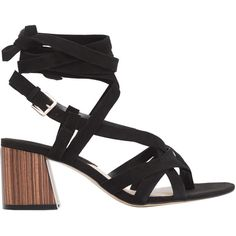 Leather Straps Sandal (925 THB) ❤ liked on Polyvore featuring shoes, sandals, thick high heel shoes, mango sandals, chunky heel sandals, strap high heel sandals and strappy sandals