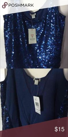 Sequined GUESS Top (New) Size: Small    Color: Navy Blue.  Never worn with tag and originally bought at $24.99 :) Guess Tops Blouses