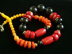 Dramatic Shaded Red Orange Coral and Black Obsidian Necklace, Colorful, Vibrant, Fire, 20""
