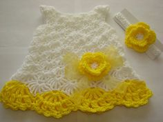 Yellow and white crocheted dress for baby with headband