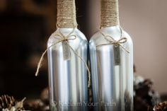 Silver wine bottle!  Recycled. #recycle #recycled #winebottles