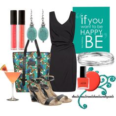 """""""black, teal, & coral"""" by enjoytheview on Polyvore"""