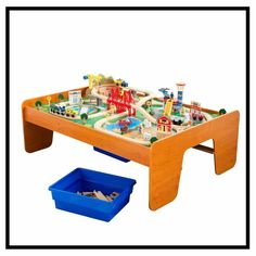 KidKraft Ride Around Town Train Set & Table with 100 accessories included Train Set Table, Ikea Pictures, Wooden Play Kitchen, Christmas Gifts For Boys, Family Christmas, Toys R Us Canada, Play Table, Wooden Train, Thomas And Friends