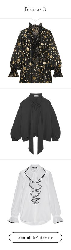 """Blouse 3"" by erihiro ❤ liked on Polyvore featuring tops, blouses, black, star blouse, flounce tops, frill blouse, ruffle sleeve top, loose fit blouse, balenciaga and shirts"