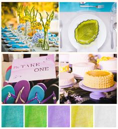 Fresh Palettes: New Debut Motif Ideas to Try, Stat! Debut Themes, Purple Yellow, Teal, Happy Colors, Palette, Birthday Cake, Style Inspiration, Fresh, Table Decorations