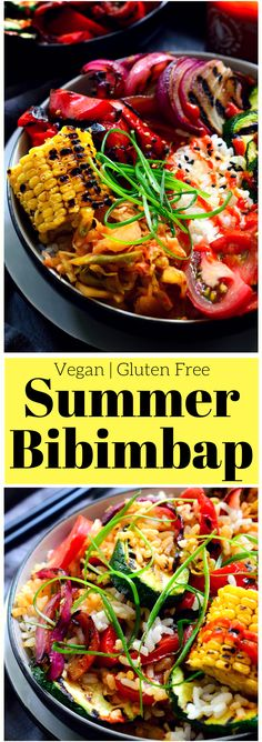 This vegan bibimbap features fresh grilled summer vegetables, kimchi and crispy-bottomed rice (no special equipment required). A tasty bowl of rainbow goodness, this bibimbap recipe can be adapted to use whatever vegetables you have on hand!