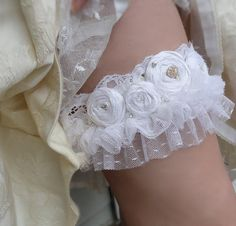 Lace and pretty vintage tulle rosette garter.