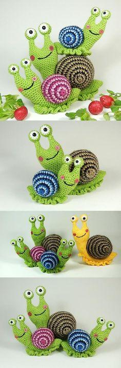 Shelley the snail amigurumi pattern by Janine Holmes at Moji-Moji Design