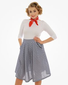 Daniella Navy Gingham Swing Skirt | Vintage Style Fashion | Lindy Bop
