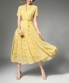 Look what I found on #zulily! Yellow Lace Tie-Waist Collar Midi Dress #zulilyfinds