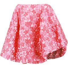 Simone Rocha Asymmetric cloqué mini skirt ($330) ❤ liked on Polyvore featuring skirts, mini skirts, pink, floral print skirt, pink skirt, flower print skirt, asymmetrical skirt and floral printed skirt