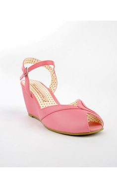 Demi Peep Toe Ankle Strap Wedge in Rose Pink - Final Sale - Shoes | Pinup Girl Clothing