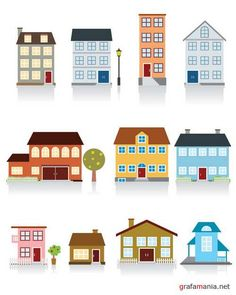 Vector beautiful house in city icon set with gray shadow isolated on white City Vector, Eps Vector, Vector Icons, Vector Free, Vector Graphics, Office Paint Colors, Cartoon House, City Icon, House Vector