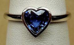 1.00ct Natural Blue Heart Sapphire Bezel Set 14k White Gold Handmade Alternative Engagement Ring Custom Made OOAK by DiamondAddiction on Etsy