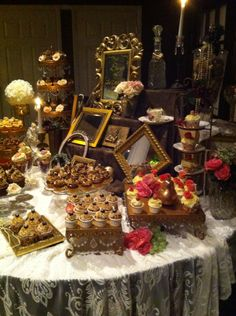The days of wine and roses themed cupcake display