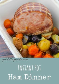 A delicious hearty meal that is an easy dump and go dinner that will keep your family happy.  Carrots, potatoes and a ham all cooked in one pot and done is as quick as 20 minutes! Pin for Later! #holiday #instantpot #ham
