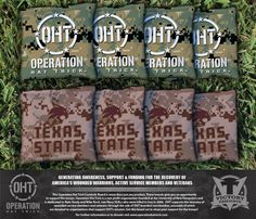 Cornhole All Weather Bag Set - Operation Hat Trick Texas State University Bobcats
