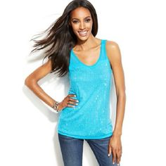 INC. Turquoise Embellished Illusions Tank Top NWT Sleeveless scoop neck tank top with sheer mesh insert and a shimmering studded front. Rayon; yoke: nylon. Machine wash. INC International Concepts Tops Tank Tops