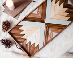 Wood Tray with Leather Handles Modern Serving Tray Diy Wood Projects, Wood Crafts, Diy And Crafts, Lathe Projects, Wooden Wall Art, Wood Wall, Modern Serving Trays, Geometric Wall Art, Diy Holz