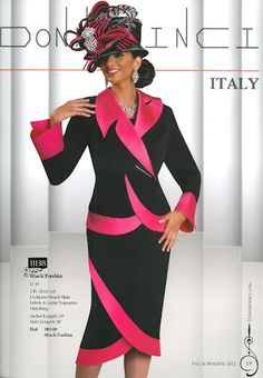 11138--Black/Fushia 2pc. Donna Vinci Skirt Set-Designer Suits, Church Suits and Hats, Luxury Women Suits and Apparel, Donna Vinci, Lisa Rene, Sunday Women's Dresses, Plus Size and Missy Maxi Long Dresses with Sleeves, Microfiber and Satin and Chiffon and Organza and Light Gabardine and Novelty Printed  Faux Leather and Suede and Peach Skin and Silk Look and Fine Crepe and Korean Shantung and Cotton/Spandex Denim and Exclusive Knitted Yarn and Stretch Taffeta and Linen Fabrics, Printed Faux S...