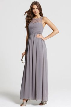 Dark Grey Embellished Neck Maxi Dress from Little Mistress