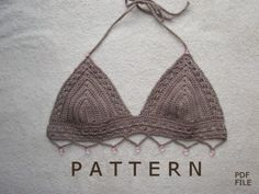 Gray crochet bikini top with beads
