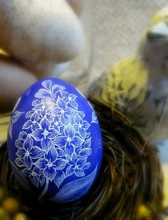 Easter Spring Egg- Purple Lilac Hand Etched Pysanky Egg- by Christine Luschas - etsy.com