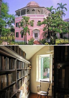 Nassau Public Library in Nassau, Bahamas, once a colonial jail, but converted into a library in 1873.
