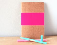 easy peasy    Geometric Rectangle Neon Pink Notebook - Handpainted geometric Moleskine - A5 B5 Journal Neon pink
