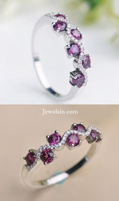 unique chic designer purple garnet silver promise ring