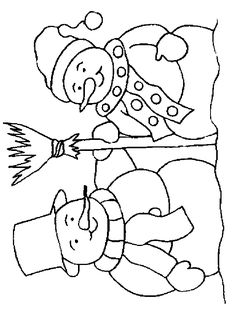 Coloring Page of Snowman