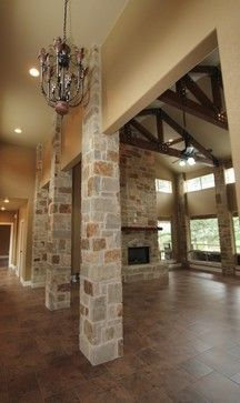 Welcome To My Dream Wood Floor Stone Column And