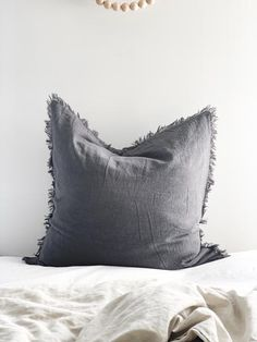Ramie Euro Cushion - Charcoal – FEATHER + OAK Open Weave, Natural Texture, Earthy, Charcoal, Cushions, Euro, Baskets, Feather, Bedroom
