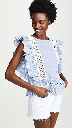 The annual Shopbop off sale! Guys…this is the time to stock up on your fave brands like Free People, Madewell, BB Dakota and even get major sales on all the designer brands (like bags and… Eyelet Top, Flutter Sleeve Top, Lace Up Sandals, China Fashion, S Models, Feminine, Ruffle Blouse, How To Wear, Clothes